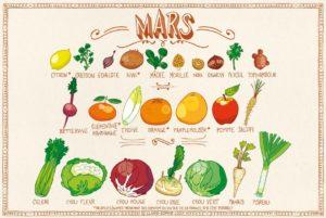 Calendrier des fruits et légumes de saison en mars