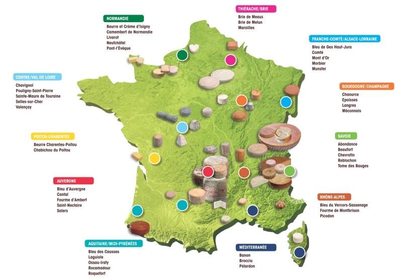 Carte des fromages AOP en France