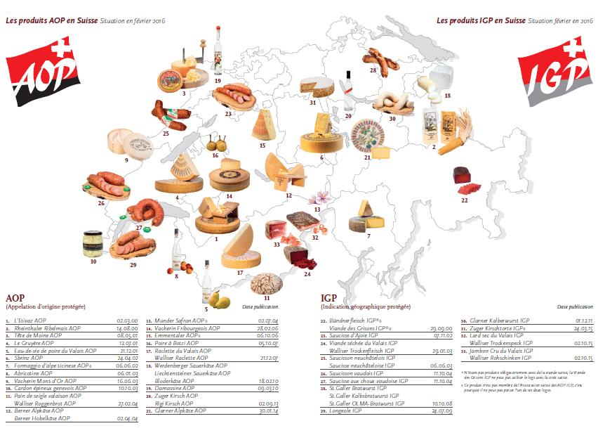 Carte des Appellations d'Origine Protégée en Suisse [AOP Suisse]