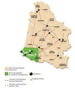 Carte du jambon de Bayonne [IGP jambon de Bayonne]